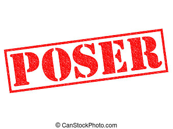 POSER red Rubber Stamp over a white background