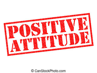 POSITIVE ATTITUDE red Rubber Stamp over a white background.