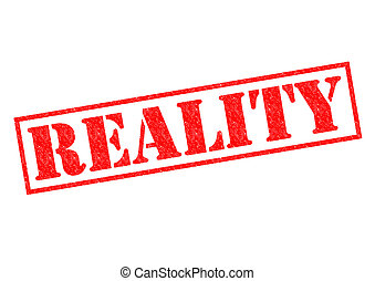REALITY red Rubber Stamp over a white background