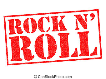 ROCK N ROLL red Rubber Stamp over a white background