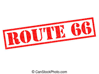 ROUTE 66 red Rubber Stamp over a white background