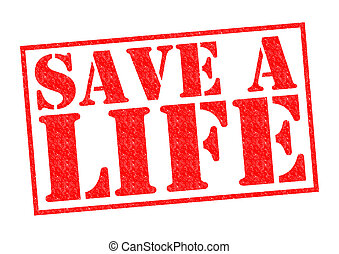 SAVE A LIFE red Rubber Stamp over a white background.