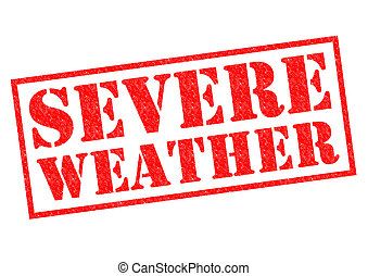 SEVERE WEATHER red Rubber Stamp over a white background