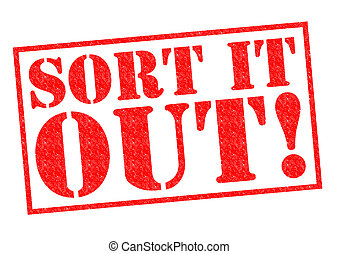 SORT IT OUT red Rubber Stamp over a white background