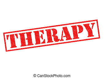 THERAPY red Rubber Stamp over a white background
