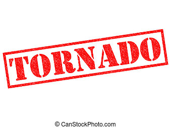 TORNADO red Rubber Stamp over a white background