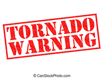 TORNADO WARNING red Rubber Stamp over a white background.