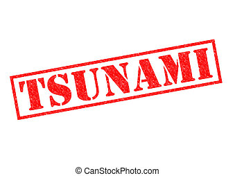 TSUNAMI red Rubber Stamp over a white background