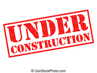 UNDER CONSTRUCTION red Rubber Stamp over a white background