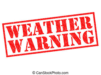 WEATHER WARNING red Rubber Stamp over a white background