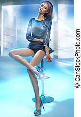 Colorful picture of young lady - Colorful picture of young...