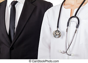 Doctor and businessman - Young doctor and businessman have a...