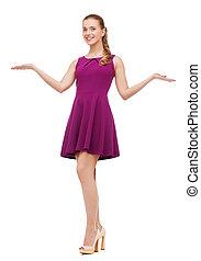 jovem, mulher, roxo, Vestido, alto, calcanhares