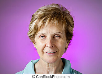 Real happy woman portrait over purple background - Portrait...