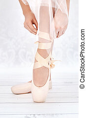 Bright photo of ballerinas feet - Bright picture of...