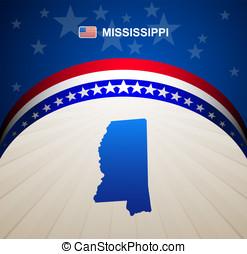 Mississippi map vintage vector background