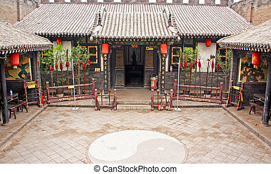 Ornamental courtyard of a historical house in Pingyao, China...