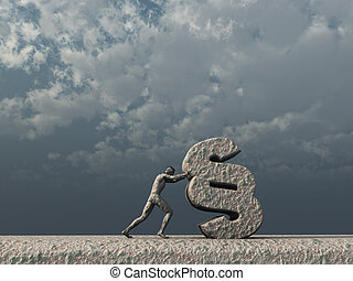 law - sculpture - man pushes a paragraph symbol in front of...