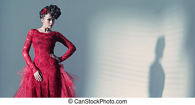 Fantastic woman wearing fashionbable red dress - Fantastic...