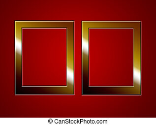 frames - two gold frames on red background blank...