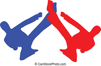 martial art kick vector silhouette