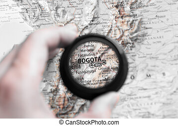 Map of Bogota - Selective focus on antique map of Bogota