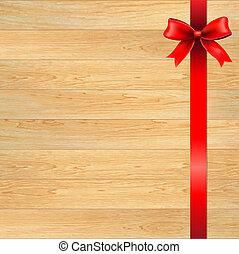 Red Bow And Blank Gift Tag With Wooden Wall, With Gradient...