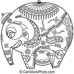 ornated elephant - exotic ornated elephant outline
