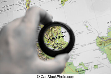 Map of Kuala Lumpur - Selective focus on antique map of...