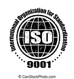 ISO 9001 stamp - ISO 9001 grunge rubber stamp on white,...