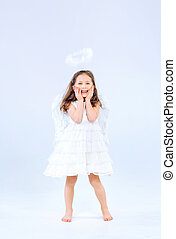 Angel child girl with white wings