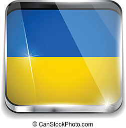 Ukraine Flag Smartphone Application Square Buttons
