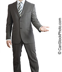 Man in suit holding his hand before him. Crop