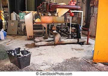 Diesel fuel spill - A Diesel fuel spill in a boilerhouse...