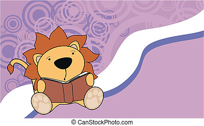 lion reading cartoon background