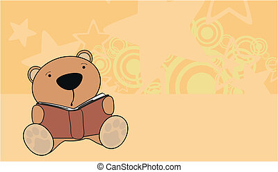 teddy bear reading cartoon background in vector format