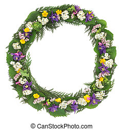 Wildflower Wreath - Wildflower wreath with spring flowers...