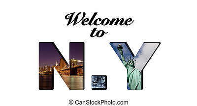 Welcome to new York text and photo collage