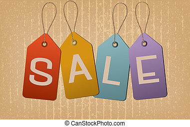 Sale retro tags. Concept of discount shopping. Vector illustration