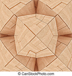 Abstract Textured Wooden Tangram - Abstract Textured Wooden...
