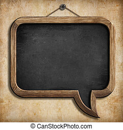 speech bubble blackboard or chalkboard hanging on wall