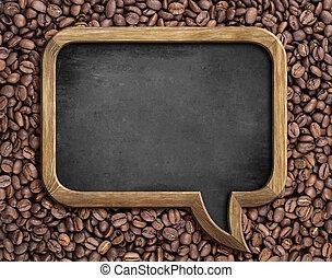 speech bubble blackboard over coffee beans background