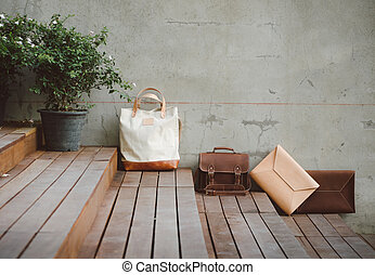 Fashion Leather Bags, Grunge Background