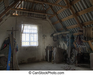 Attic - HDR image - The HDR image of the attic in the old...