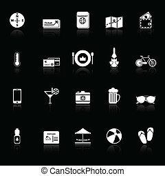 Journey icons with reflect on black background, stock vector