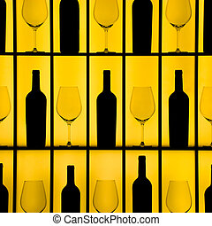 Bottles and glasses - Black bottles and crystal glasses with...