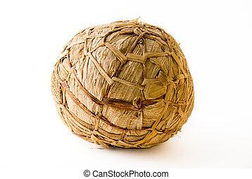 African soccer ball made of banana leaves for kids games