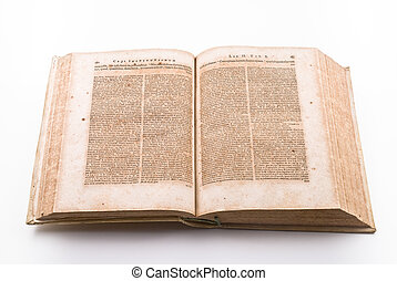 Ancient law book - Pages of ancient law book in latin...