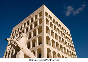 Mussolini time architecture building in Rome, Italy. -...