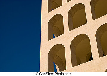 Mussolini time architecture building in Eur, Rome, Italy -...